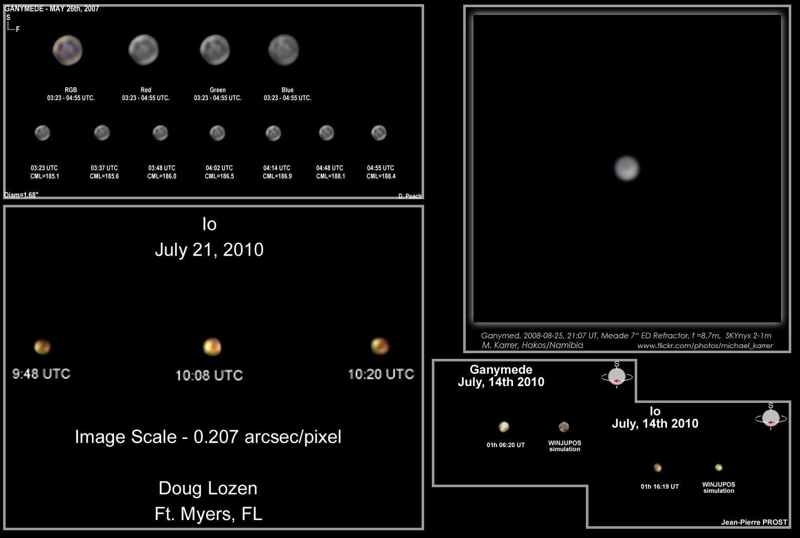 Florilège des meilleures images des satellites de Jupiter réalisées depuis trois ans par des astronomes amateurs. Crédits D. Peach, M. Karrer, D. Lozen, J.-P. Prost