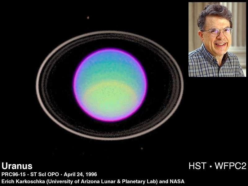 Les anneaux d'Uranus (ici photographiés en 1996 par le télescope Hubble) ont été découverts par J. Elliot et ses collègues en 1977. © E. Karkoschka-Nasa/DR