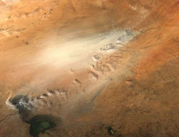 Une tempête de sable partie de la dépression du Bodélé (en haut à droite). Le lac Tchad est visible en bas à gauche. © Nasa, Wikimedia Commons, domaine public