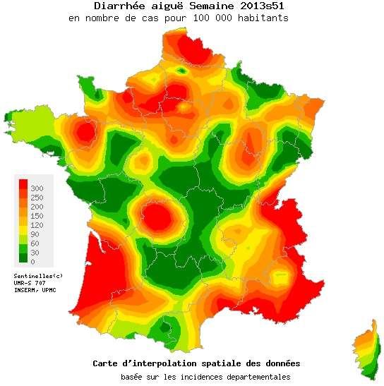 Carte montrant les estimations du nombre de diarrhées aiguës pour 100.000 habitants au cours de la semaine 51 de l'année 2013 (du 16 au 22 décembre) en France métropolitaine. La graduation des couleurs va du vert foncé (0 cas) au rouge vif (300 cas pour 100.000 habitants). Le seuil épidémique est quant à lui de 276 cas pour 100.000 habitants. © Bulletin du réseau Sentinelles