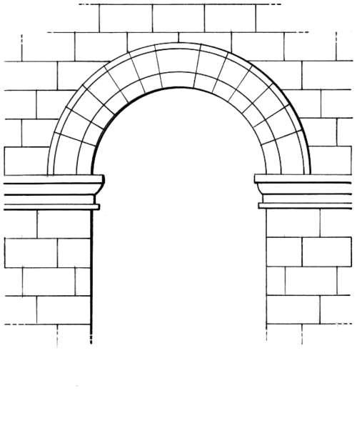 En architecture, l'imposte est une pierre saillante située à la base d'un arc. © Pearson Scott Foresman, Domaine public, Wikimedia Commons