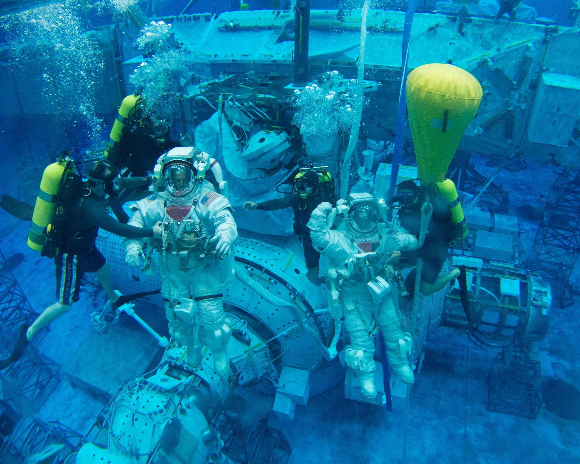 Deux astronautes de la Nasa s'entraînant aux sorties dans l'espace sous l'eau. © Nasa
