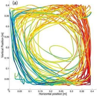 Trajectoire d'une sonde, en rouge la température la plus chaude et en bleu la plus froide. Crédit : Y. Gasteuil, W.L. Shew, M. Gibert, F. Chill'a, B. Castaing et J.-F. Pinton