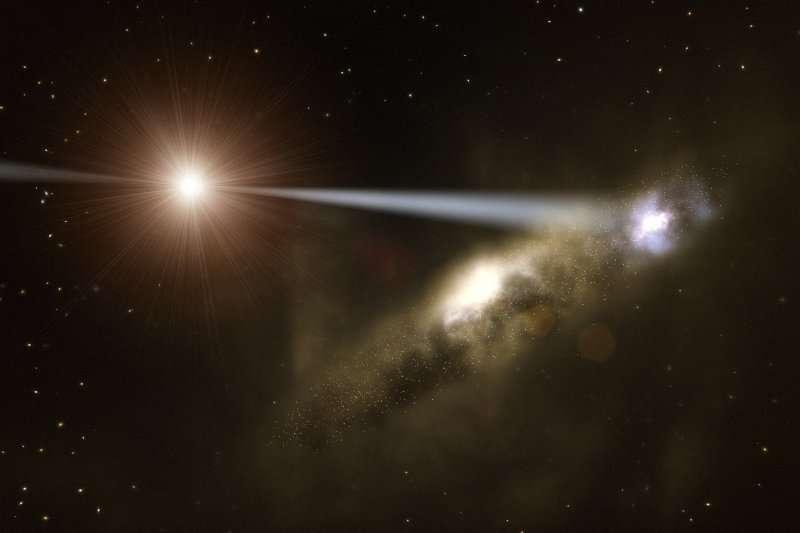 Une image d'artiste montrant le jet de particules de HE0450-2958 à l'origine d'une flambée de nouvelles étoiles dans la galaxie au premier plan. Crédit : ESO/L. Calçada