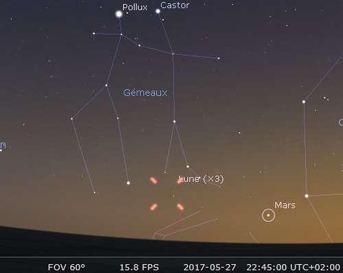 La Lune en rapprochement avec Mars et Alhena