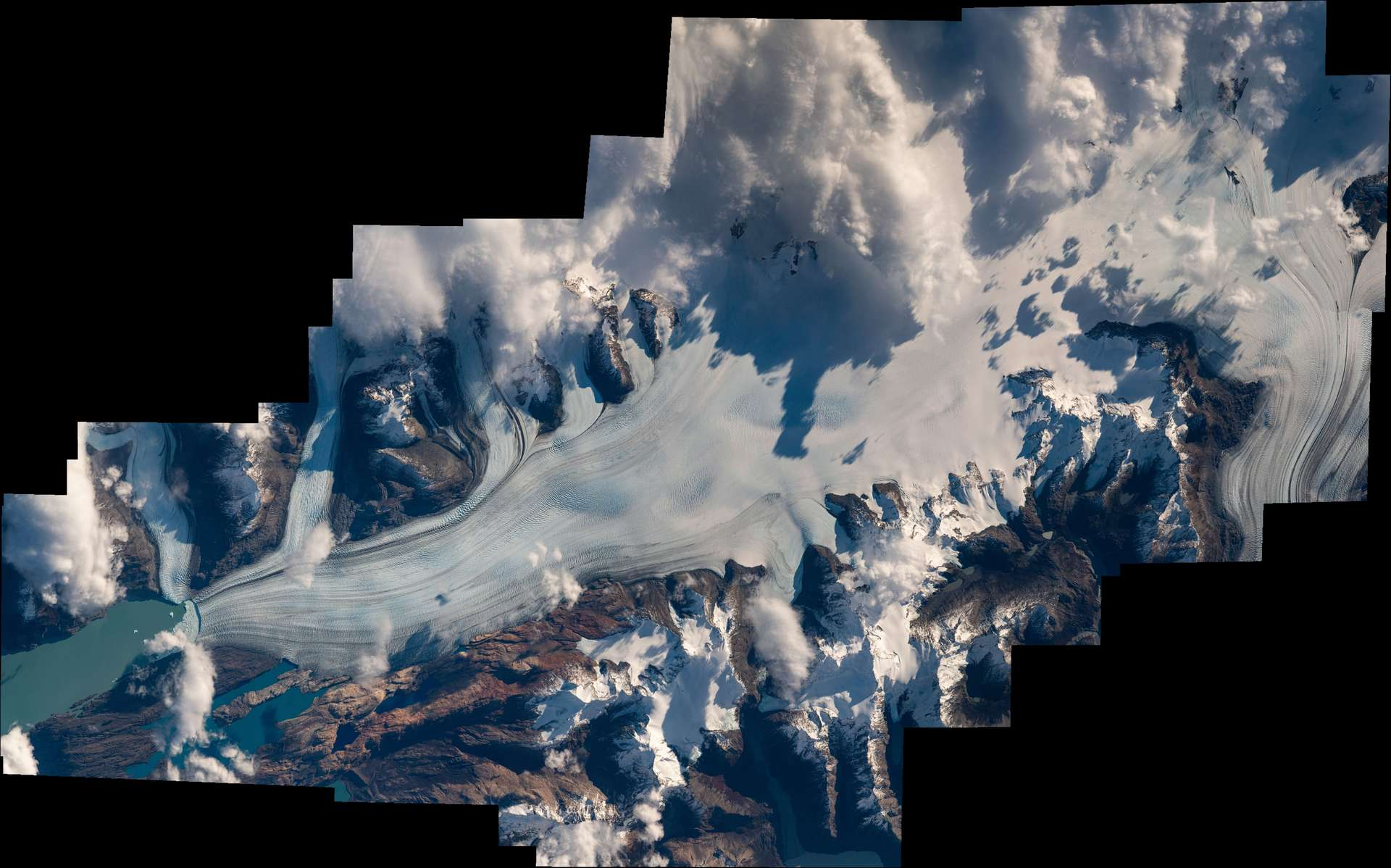 Le glacier Upsala, troisième plus grand glacier du Sud de la Patagonie. © ESA, Nasa, T. Pesquet, A. Conigli