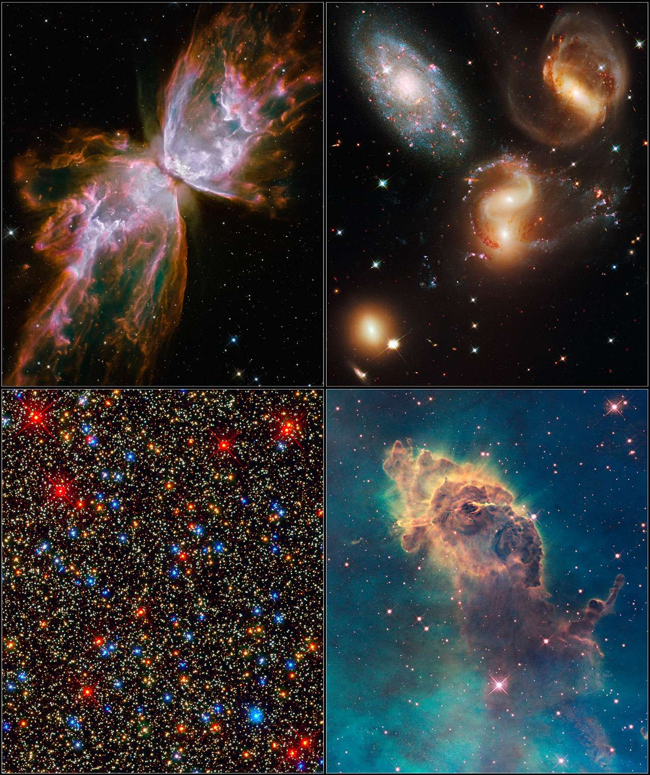 On voit ici 4 des images fournies par la Wide Field Camera 3, la nouvelle caméra de Hubble. En bas à gauche ce sont près de 100.000 étoile de l'amas globulaire géant Omega Centauri qui sont résolues. Crédit : NASA, ESA, Hubble SM4 ERO Team