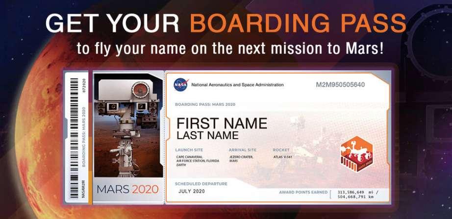 Les aspirants voyageurs martiens peuvent soumettre leur identité à la Nasa en échange de l'obtention de cette carte d'embarquement souvenir pour la mission Mars 2020 et d'une chance de voir leur nom gravé sur des puces embarquées par le rover qui cherchera des traces de vie sur la Planète rouge. © Nasa