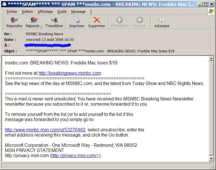 MSNBC Breaking News : danger d'infection !