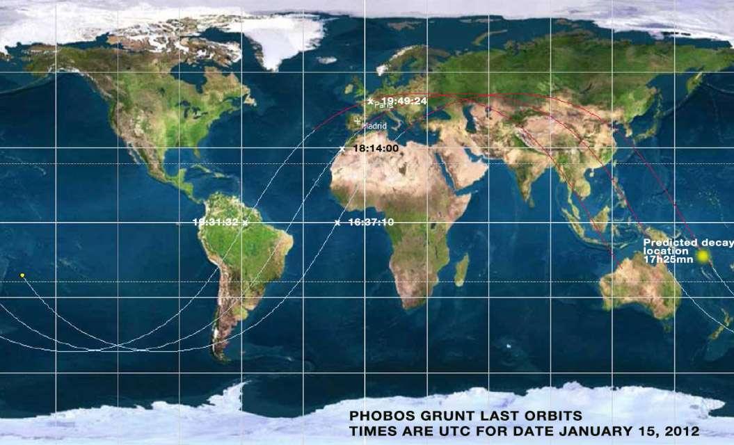 Surveillée par le Commandement stratégique des États-Unis (USSTRATCOM), la rentrée atmosphérique de la sonde Phobos-Grunt (du moins ce qu'il en restait) s'est terminée par un plongeon dans l'océan Pacifique. © USSTRACOM