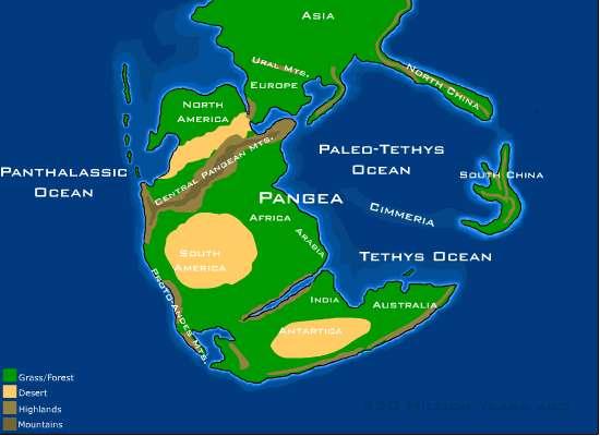 Représentation du supercontinent Pangée, point de départ du dernier mégacycle. © Dropzink, Wikimédia CC by-sa 2.5