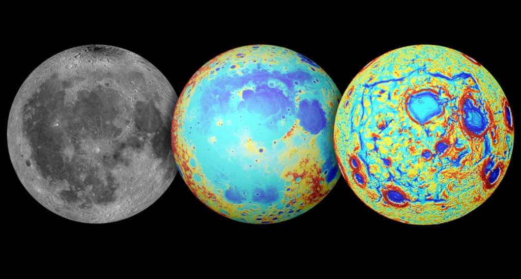 Ces trois images montrent La Lune observée en lumière visible (à gauche), sa topographie au centre (le rouge indique les reliefs élevés et le bleu les régions de faible altitude), et les gradients de gravité mesurés par Grail à droite. Ces derniers révèlent un motif rectangulaire géant avec les structures qui entourent la région de l'Océan des tempêtes. © Nasa/Colorado School of Mines/MIT/JPL/Goddard Space Flight Center