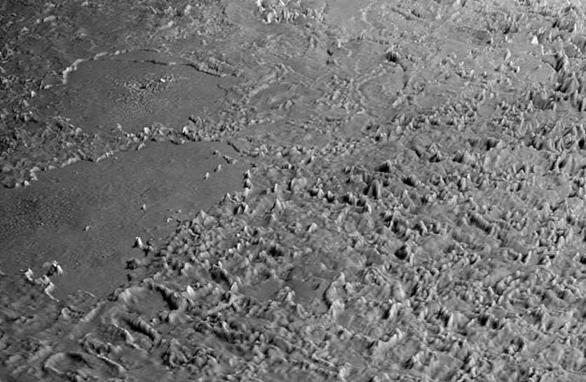 Une image du survol virtuel de Triton par Voyager. Crédit : Nasa/JPL/Universities Space Research Association/Lunar & Planetary Institute