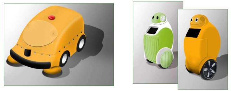 A gauche, DustClean, qui nettoie les trottoirs. A droite, DustCart, qui les parcourt à la recherche de déchets à jeter. © DustBot