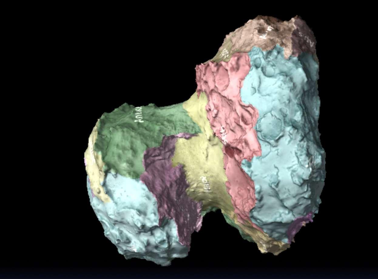 La comète 67P/Churyumov–Gerasimenko, sur laquelle se trouve quelque part le petit atterrisseur Philae, observée par la sonde Rosetta. L'image vient de la modélisation interactive 3D visible sur la page Rosetta du site de l'Agence spatiale européenne. © Esa