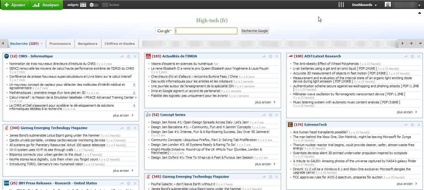 Netvibes est sans conteste le lecteur RSS proposant le plus grand nombre de fonctions et options de personnalisation. Autre avantage, son interface en français le rend accessible à un plus large public. © Marc Zaffagni, Futura-Sciences