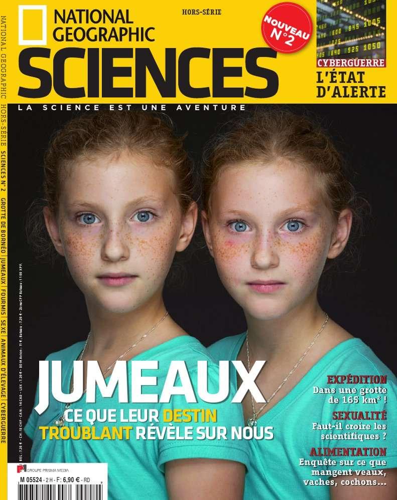 En couverture du numéro 2 du National Geographic Sciences : l'enquête sur le monde fascinant des jumeaux, vu du côté de la génétique. © NGS