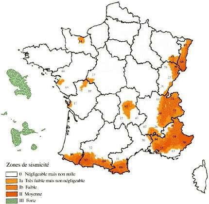 Zones de sismicité, crédits DR.