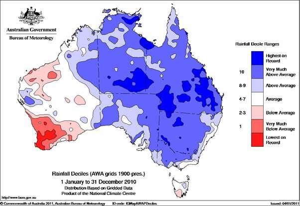 La pluviométrie en Australie en 2010, entre le premier janvier et le 31 décembre. La couleur bleue indique les valeurs supérieures à la moyenne. Le Queensland est à l'est, donc ici à droite. © Australian Bureau of Meteorology