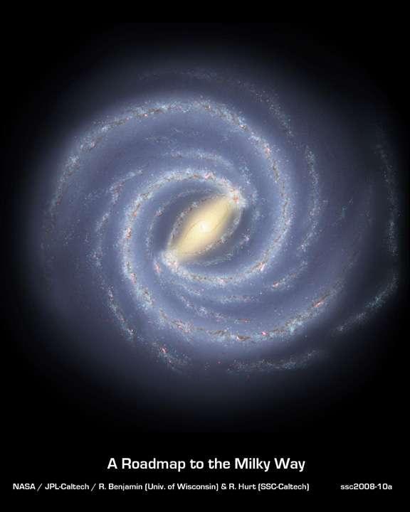 Une vue d'artiste de la nouvelle Voie Lactée. Crédit : Robert Hurt (SSC/JPL/Caltech)