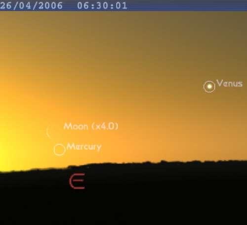 La Lune est en conjonction avec la planète Mercure