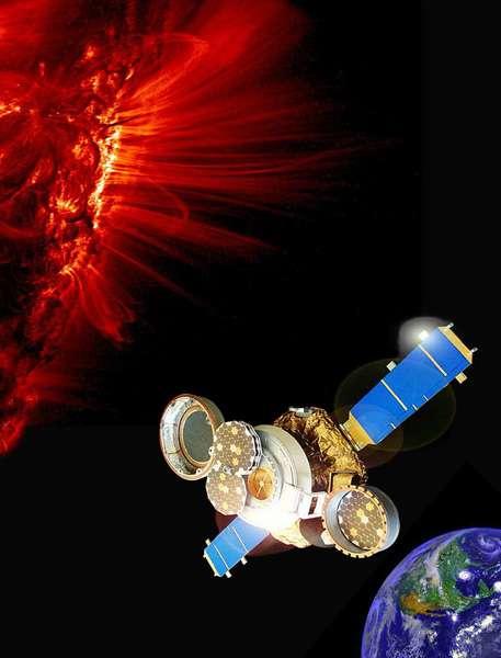 Une vue d'artiste de la sonde Genesis collectant des particules de vent solaire. Crédit : Nasa