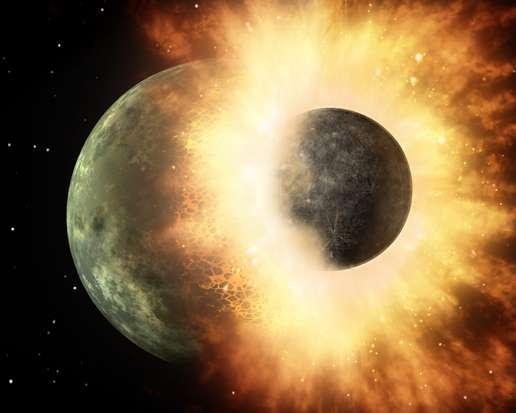 Une vue d'artiste d'un collision entre planètes à l'aube de la formation du Système solaire. Les éjectas de matière fondue par la chaleur libérée par l'impact seraient à l'origine des chondres. © Nasa