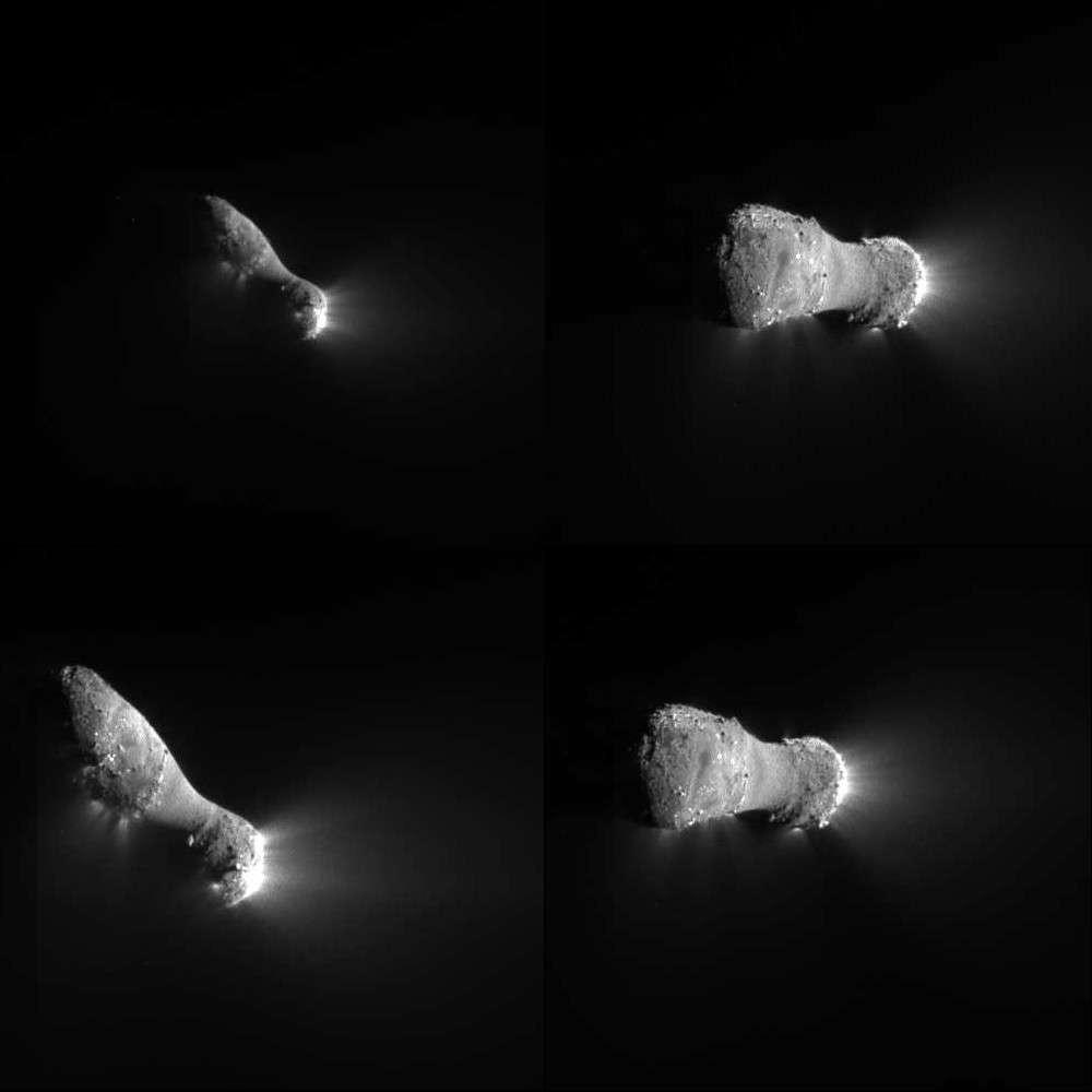 Quatre vues du noyau de 103P/Hartley 2 réalisées par la sonde Epoxi lorsqu'elle est passée au plus près de la comète. © Nasa