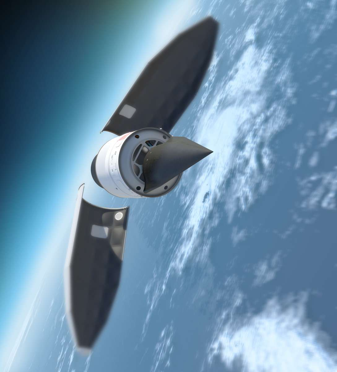 Le Falcon HTV (vue d'artiste), reconnaissable à sa forme triangulaire et à sa couleur noire, fixé sur le dernier étage de la fusée Minotaur IV, au moment où la coiffe se détache. © DR