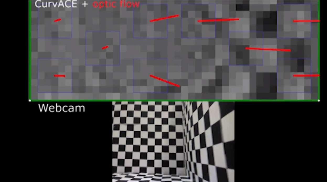 Sur cette capture d'écran, issue de la vidéo publiée sur le site dédié à Curvace, une caméra standard filme la scène. En haut, la même image captée par la minicaméra. L'image est très pixellisée, toutefois le système embarqué est capable de traiter et d'interpréter parfaitement la scène à partir de 1.500 images par seconde. © Curvace, YouTube
