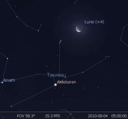 La Lune est en rapprochement avec les Pléiades