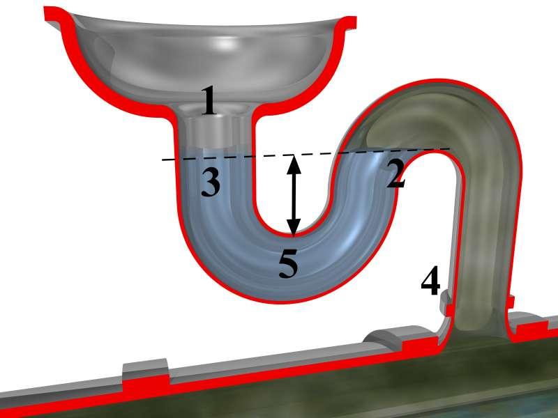 Le siphon bloque la remontée des odeurs néfastes grâce à la présence d'eau propre dans une partie du conduit. © Peo Pedersen, CC BY-SA 3.0, Wikimedia Commons