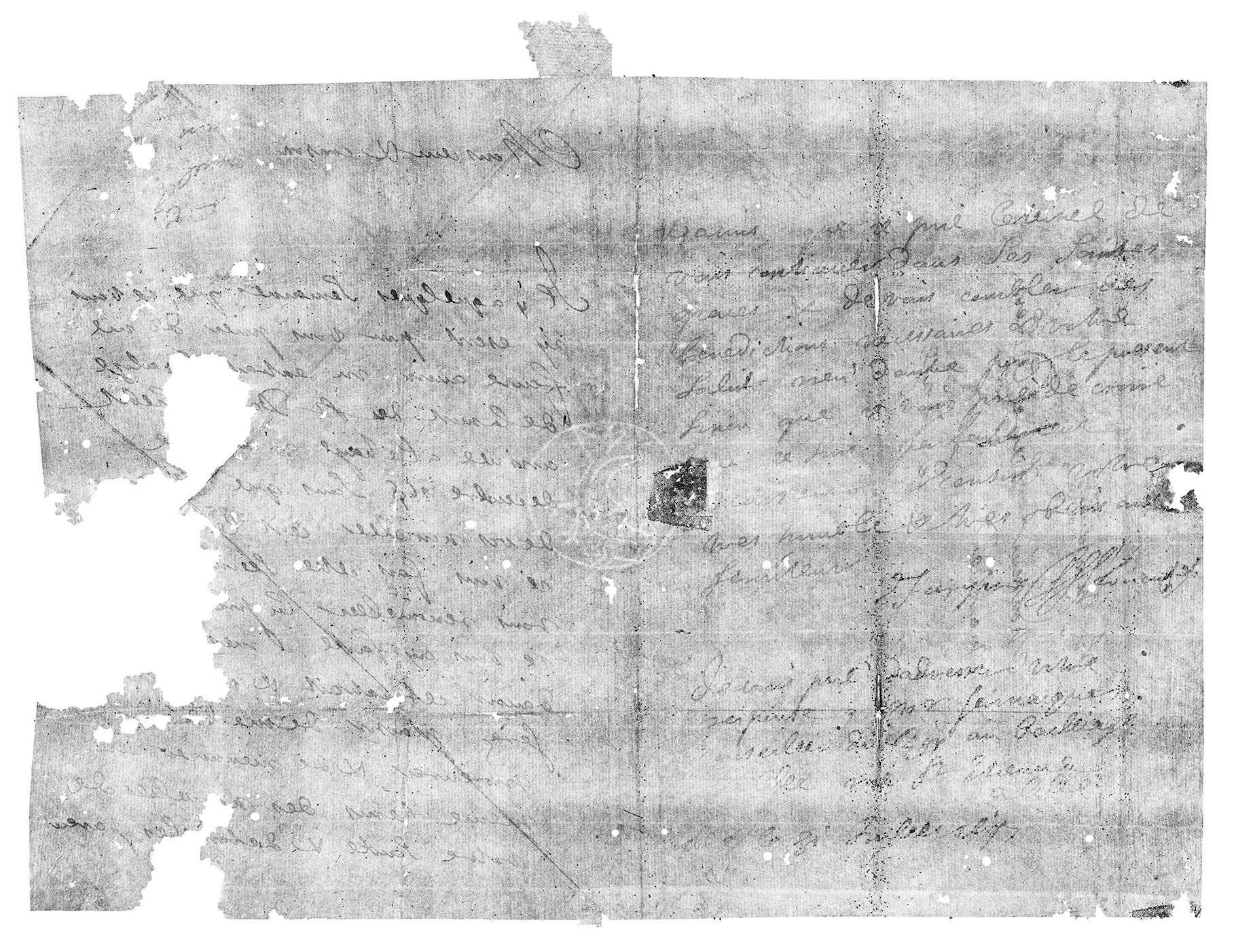 Cette lettre scellée datant de 1697 a été virtuellement ouverte grâce à une technique développée par des chercheurs. © Unlocking History Research Group