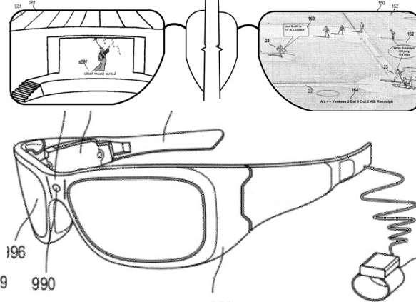 Fin 2012, le Bureau des brevets et des marques américain a accordé un brevet à Microsoft. Il décrivait une paire de lunettes à l'allure grossière capable d'afficher des informations complémentaires selon le contexte. © Microsoft, USPTO
