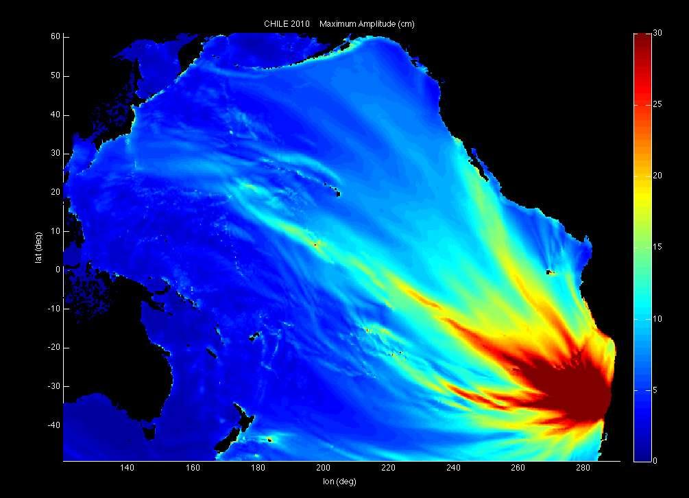 Cette carte montre, en centimètres, les hauteurs estimées (sans l'aide de champs magnétiques) des vagues du terrible tsunami causé par le séisme de 2010 au Chili. L'épicentre se trouvait dans l'océan Pacifique, à 6,4 km au large des côtes. Il a traversé le Pacifique en partant des eaux du Chili. © NOAA
