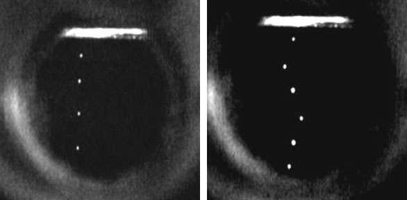 Les images de trajectoires d'électrons, à droite celle interprétée comme résultant de la présence d'une ligne de tourbillon (Crédit : Humphrey Maris et Wei Guo).
