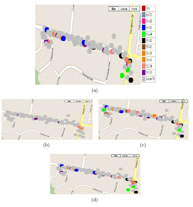 Ces différentes cartes montrent le processus de reconstitution de la pollution sonore à l'intersection d'une route. La carte (a) affiche les mesures de référence prises sur le terrain. La carte (b) montre une reconstitution effectuée avec 90 % des échantillons manquants, la (c) fait de même mais avec 50 % des échantillons manquants. Avec 30 % d'échantillons manquants, la carte (d) est la plus proche des valeurs de référence. © CSIRO