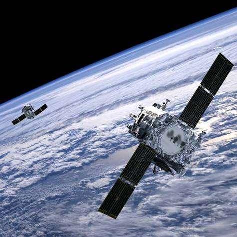 Les deux sondes STEREO à leur mise en orbite terrestre (vue d'artiste).