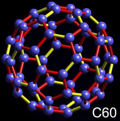 La structure des C60, les buckminsterfullerènes. Crédit : Waikato University