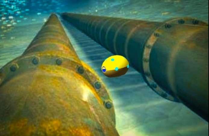 Cet extrait d'une animation vidéo montre comment le robot renifleur du MIT pourrait progresser sous l'eau et scanner les soutes d'un navire à travers la coque à l'aide d'un émetteur ultrasons. Le but est de détecter des caches de drogue ou d'autres produits de contrebande. © MIT
