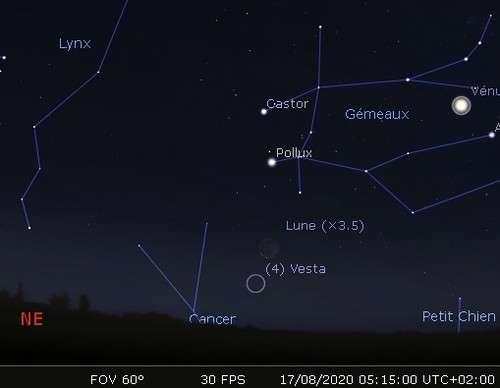 La Lune en rapprochement avec Pollux et Vesta