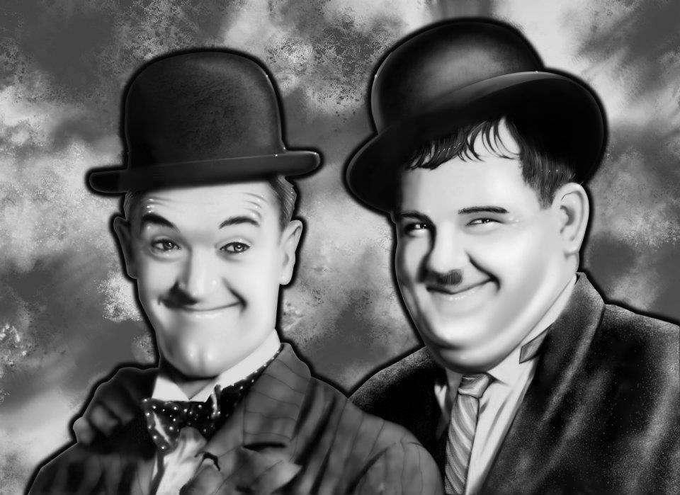 Stan Laurel et Oliver Hardy ont formé un duo comique né durant l'entre-deux guerres. Manifestaient-ils dans la vie des troubles psychotiques ? © Loboquiddity, deviantart.com, cc by nc sa 3.0