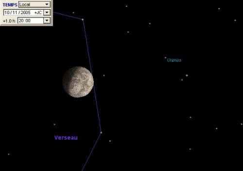 La Lune est en conjonction avec la planète Uranus