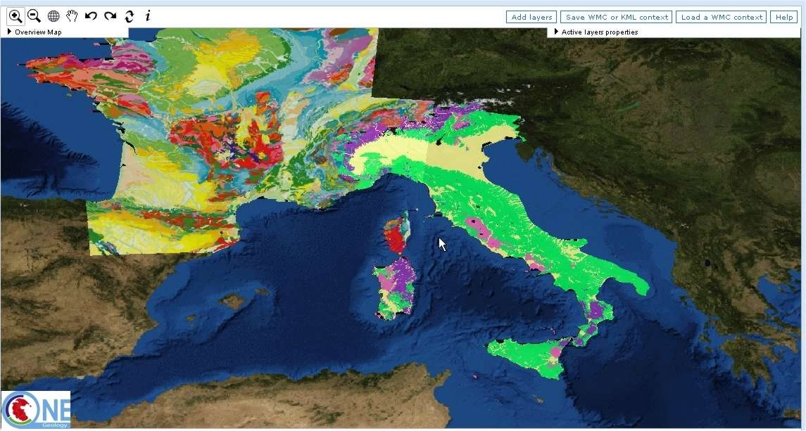 La France et l'Italie (capture d'écran de OneGeology.)