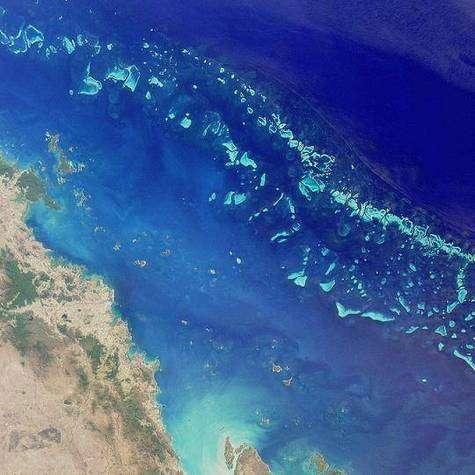 La grande Barrière de Corail vue depuis la Station Spatiale Internationale