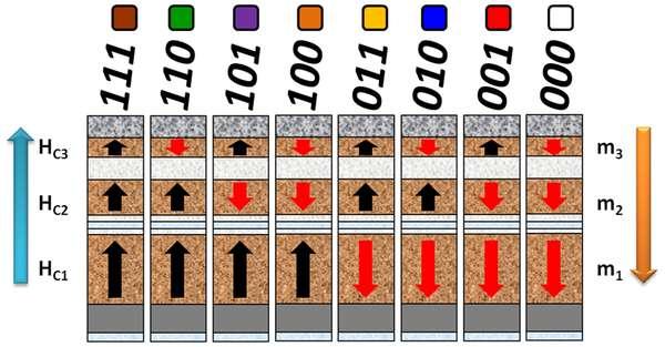 Dans cette illustration, les trois couches magnétiques constituant une colonne sont représentées. Les flèches noires symbolisent les 0 et les rouges, les 1. Ce système permet d'obtenir jusqu'à huit états magnétiques différents, au lieu de deux sur une structure habituelle. © Université de Floride, Plos One