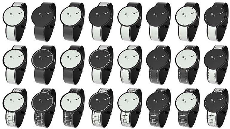 Ces 24 modèles ne sont en fait qu'une seule et même montre. Développée de façon anonyme par Sony, la FES Watch arbore un cadran et un bracelet faits d'une seule pièce de papier électronique. L'affichage couvre la totalité de la surface de l'objet, ce qui permet de personnaliser son design. © FES Entertainment