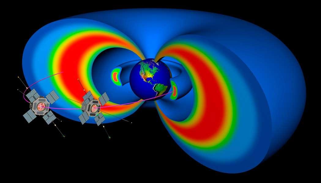 La mission RSBP s'inscrit dans le programme « Vivre avec une étoile » qui vise à mieux comprendre comment l'activité du Soleil influe sur la Terre. La Nasa compte analyser cette influence en étudiant les ceintures de Van Allen qui entourent la Terre et se faire une idée plus précise sur un des moteurs les plus importants de la météorologie spatiale. © Nasa