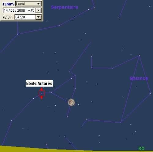 La Lune est en conjonction avec l'étoile Antarès, et occultera l'étoile Pi du Scorpion
