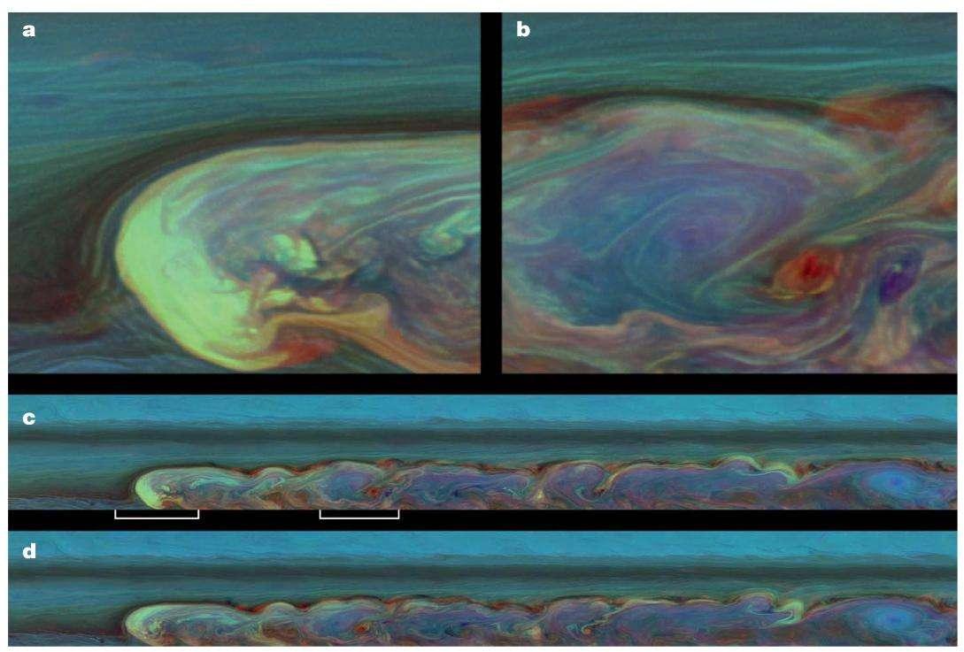 Le 26 février dernier, la caméra de la sonde Cassini a photographié la tempête sur Saturne en fausses couleurs pour révéler l'altitude des images. © Nasa/JPL/SSI